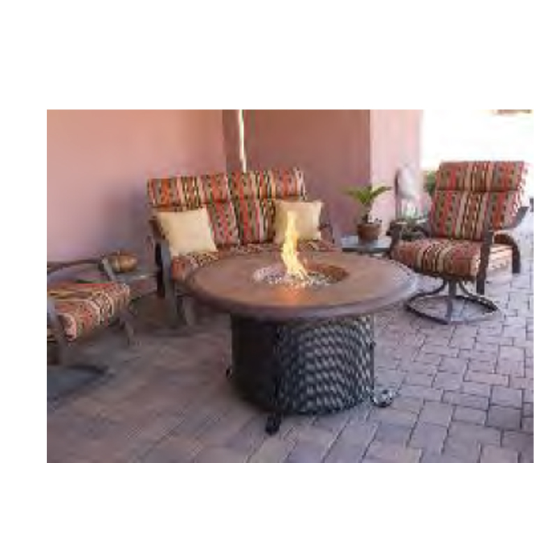 Outdoor Faux Stone Tile Round Fire Pit Dayva International